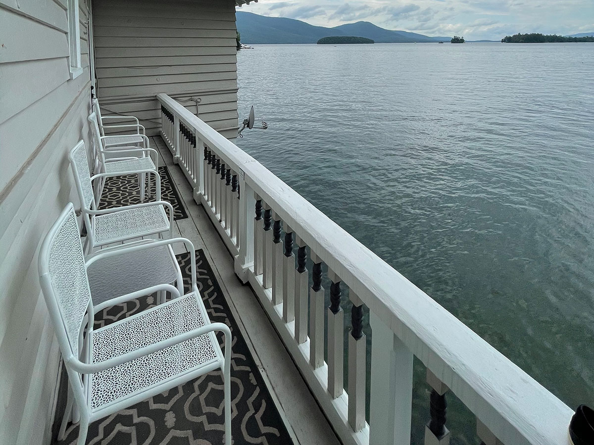 Mandy's Manor lakeside room with a walkout porch and southern view of Lake George