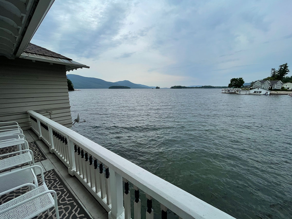 Tanner Room walk out porch on the water